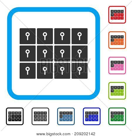 Lockers icon. Flat grey pictogram symbol in a light blue rounded rectangle. Black, gray, green, blue, red, orange color additional versions of Lockers vector. Designed for web and application UI.