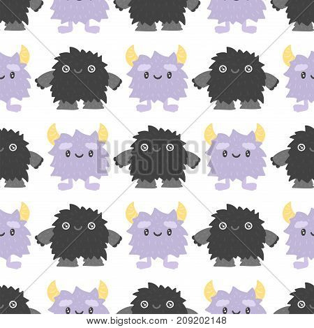 Funny cartoon monster cute alien character and creature happy illustration devil colorful animal vector. Halloween cool gesture face bacteria or comic viruses seamless pattern.