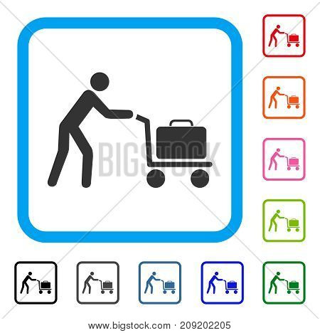 Passenger Trolley icon. Flat grey iconic symbol inside a light blue rounded rectangle. Black, gray, green, blue, red, orange color versions of Passenger Trolley vector.