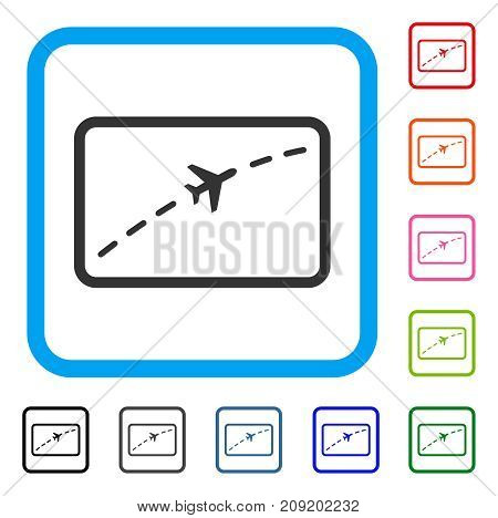 Plane Route icon. Flat grey pictogram symbol in a light blue rounded square. Black, gray, green, blue, red, orange color additional versions of Plane Route vector.