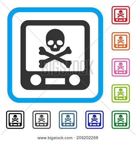 Xray Screening icon. Flat gray pictogram symbol in a light blue rounded squared frame. Black, gray, green, blue, red, orange color variants of Xray Screening vector.