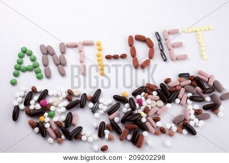 Hand Writing Text Caption Inspiration Medical Care Concept Written With Pills Drugs Capsule Word Ant