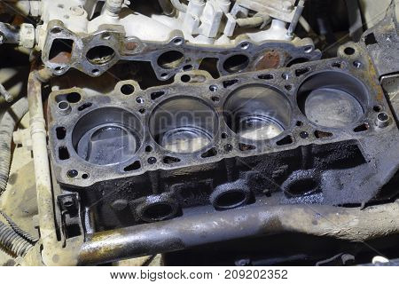 The Cylinder Block Of The Four-cylinder Engine. Disassembled Mot