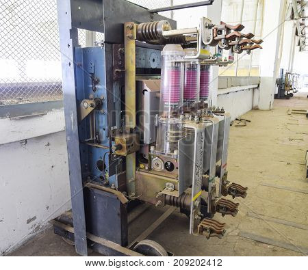 Vacuum High Voltage Switch. Electrical Equipment Of The Pumping