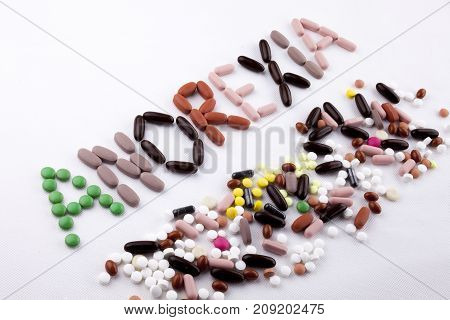 Hand Writing Text Caption Inspiration Medical Care Health Concept Written With Pills Drugs Capsule W