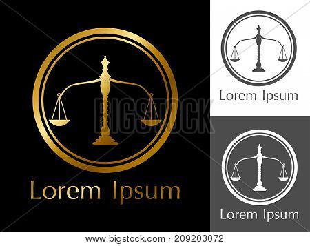 Golden scales in the circle-a logo for lawyers, attorneys,judges, court, notary, jeweler