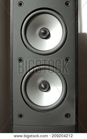 Hi-fi speaker cones close up