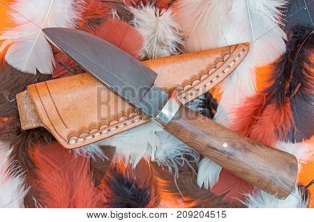 A Damascus hunting knife and leather sheath are displayed on top of colorful feathers.