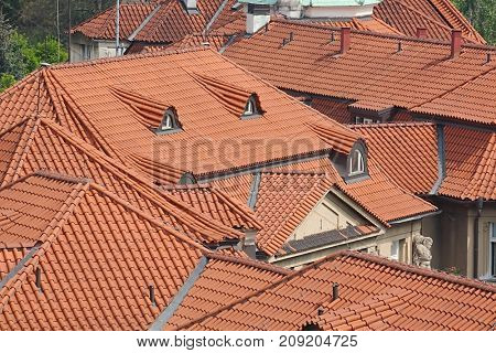 Roofs with bright brown tiles