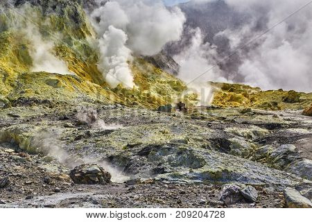 White Island Volcanic landscape in New Zealand with sulphuric fumes