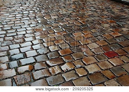 Cobblestone road with wet slippery surface