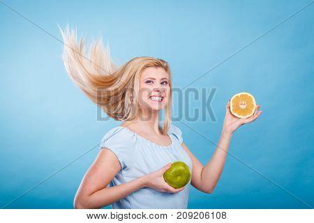 Woman Holding Fruit Green Grapefruit