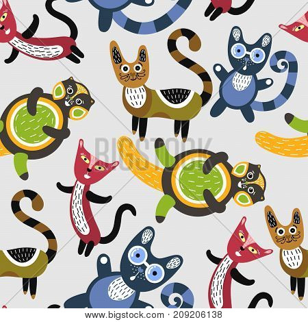 Seamless pattern with funny cats. Artistic background with cute kittens. Colorful animals. Favorite pets. Can be used for wallpaper textiles wrapping card or cover for children. Vector eps10