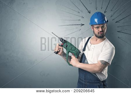 Working man with tools in his hand and arrows above his head.