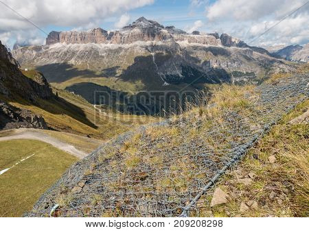 closeup of wire erosion protection in Dolomites, Italy