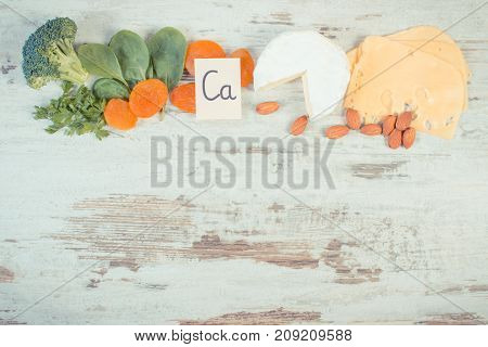 Vintage Photo, Ingredients Containing Calcium And Dietary Fiber, Copy Space For Text On Rustic Board