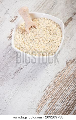 Heap Of Sesame Containing Calcium And Dietary Fiber, Concept Of Healthy Nutrition