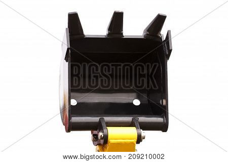 Shovel Of Excavator Or Bulldozer, Part Of Industrial Machinery On White Background