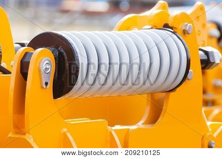 Steel Spring On Industrial Or Agricultural Machinery, Engineering Concept