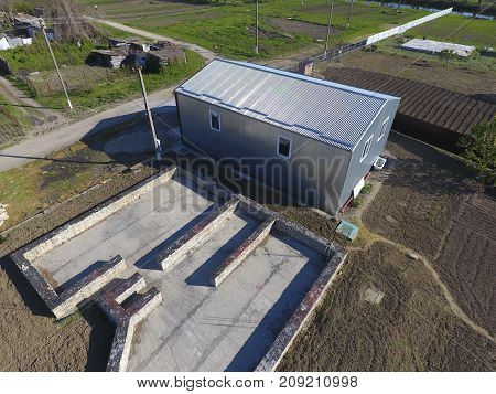 Buildings On The Site. Hangar From Metal Profile, Corrugated. Th