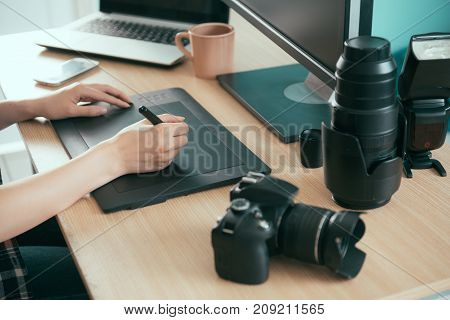 Closeup Of Professional Young Photo Designer