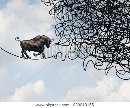 Bull stock market fear and confused financial future direction and crisis in investing guidance in a 3D illustration style.