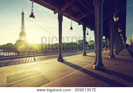 Eiffel Tower from Bir-Hakeim metal bridge in the morning, Paris, France