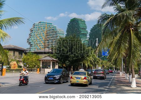 Sanya, China - April 02, 2017: Respectable areas in the tourist city of Sanya