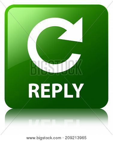 Reply (rotate Arrow Icon) Green Square Button