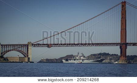 USS Essex Carrier coming through the Golden Gate Bridge in San Francisco Ca. Oct 6, 2017 Fleet week