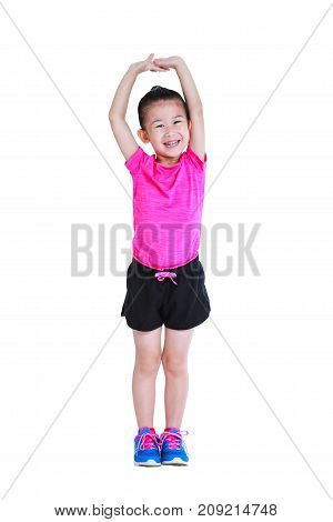 Asian Pretty Child Doing Exercises. Isolated On White Background.
