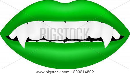 Vampire mouth in green design on white background