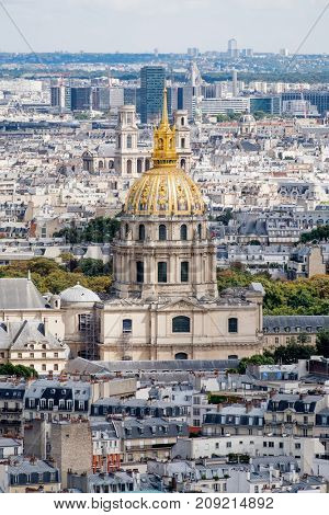 Arial view of the golden dome of Les Invalides in Paris, France