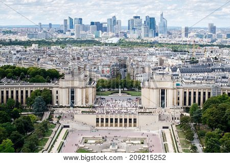 Aerial view of Trocadero , the Palais de Chaillot and the business district of La Defense in Paris