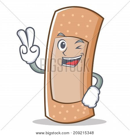 Two finger band aid character cartoon vector illustration