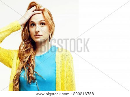 young pretty stylish brunette hipster girl posing emotional isolated on white background happy smiling cool smile, lifestyle people concept close up