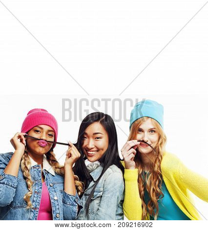 close up happy smiling diverse nation girls group, teenage friends company cheerful having fun cute posing isolated on white background, lifestyle people concept copyspace