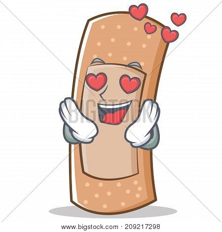 In love band aid character cartoon vector illustration