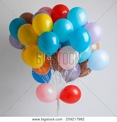 Many Colorful balloons on white background