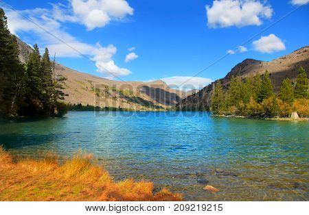 Scenic lake in Banff national park with clear water