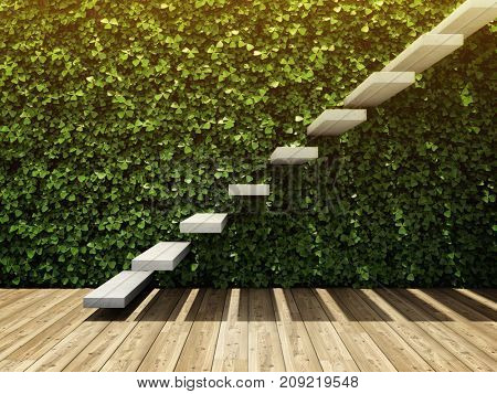 Interior of room with wall from vertical garden and staircase of concrete blocks. 3D illustration.