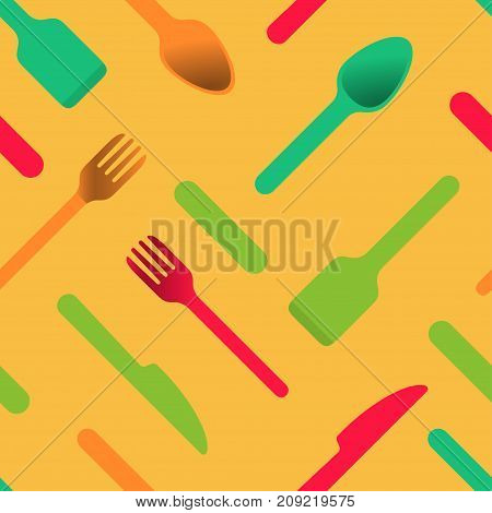 Multicolored cutlery icons on orange background, seamless pattern