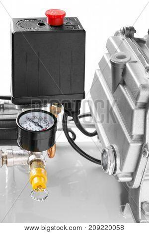 Air Compressor on white background - compressor safety valve
