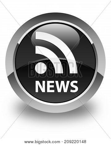News (rss Icon) Glossy Black Round Button