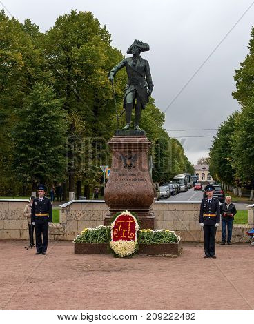 Gatchina Russia - September 10 2016: Monument to Russian Emperor Paul I in front of the Gatchina Palace. Celebrations on the occasion of the jubilee of Emperor Paul I.