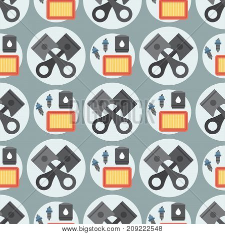 Car service parts seamless pattern background vector illustration. Auto mechanic repair of machines and automobile equipment. Motor diagnostics technician transportation.