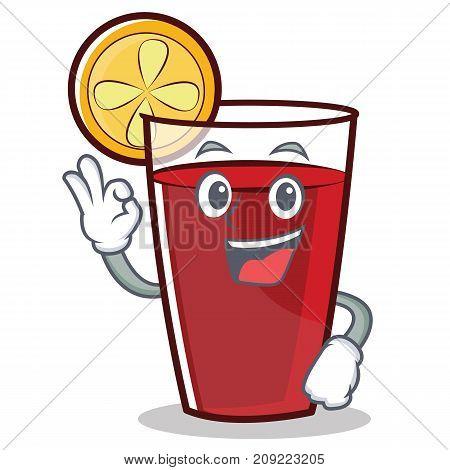 Okay mulled wine character cartoon vector illustration