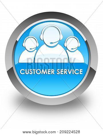 Customer Service (team Icon) Glossy Cyan Blue Round Button