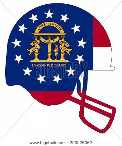 The flag of the USA state of Georgia below a football helmet silhouette