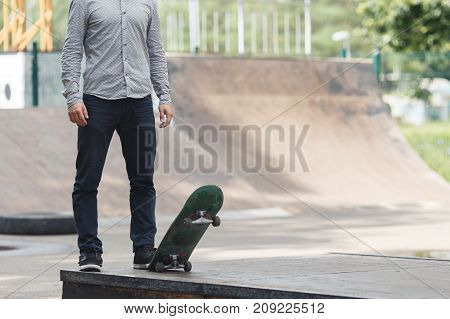 Young Boy Skater In The Park